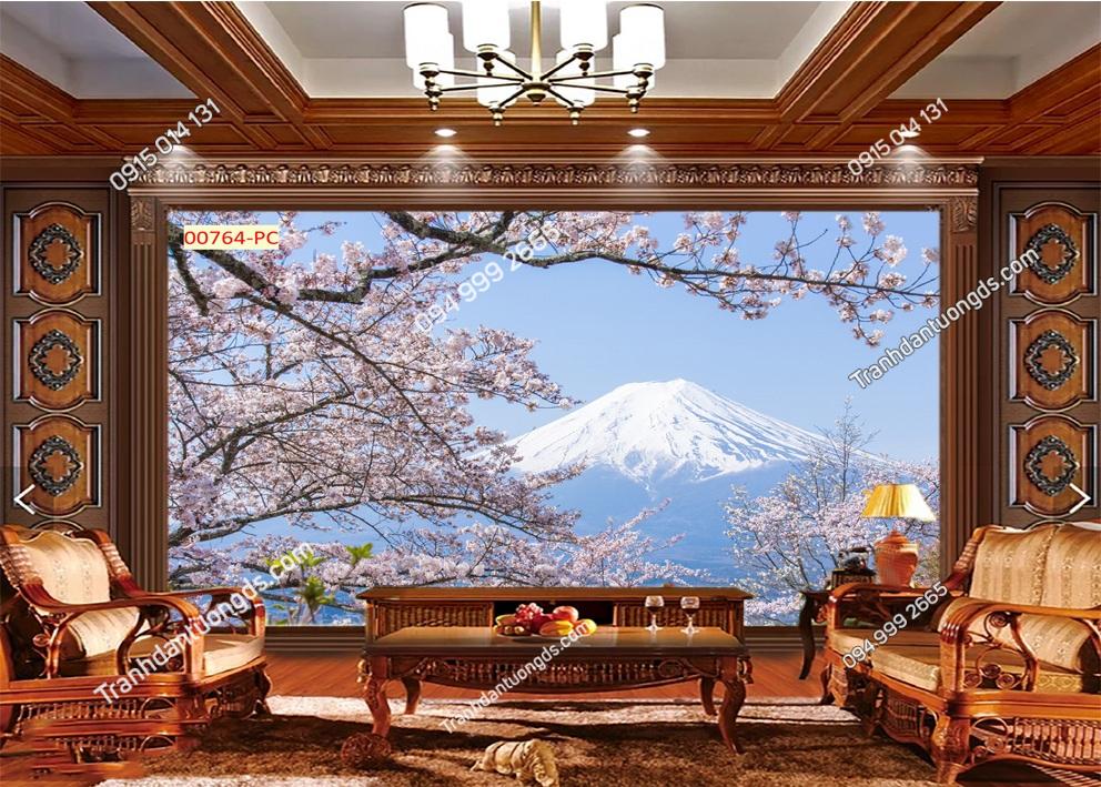 Tranh dán tường núi Phú Sĩ và hoa anh đào 00764