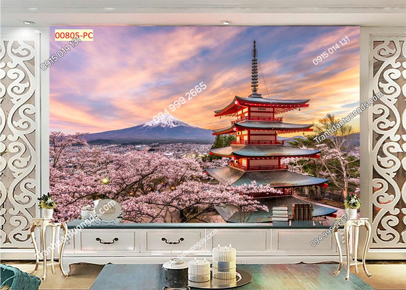 Tranh dán tường núi Phú Sĩ và hoa anh đào 00805