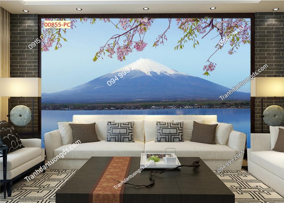 Tranh dán tường núi Phú Sĩ và hoa anh đào 00855