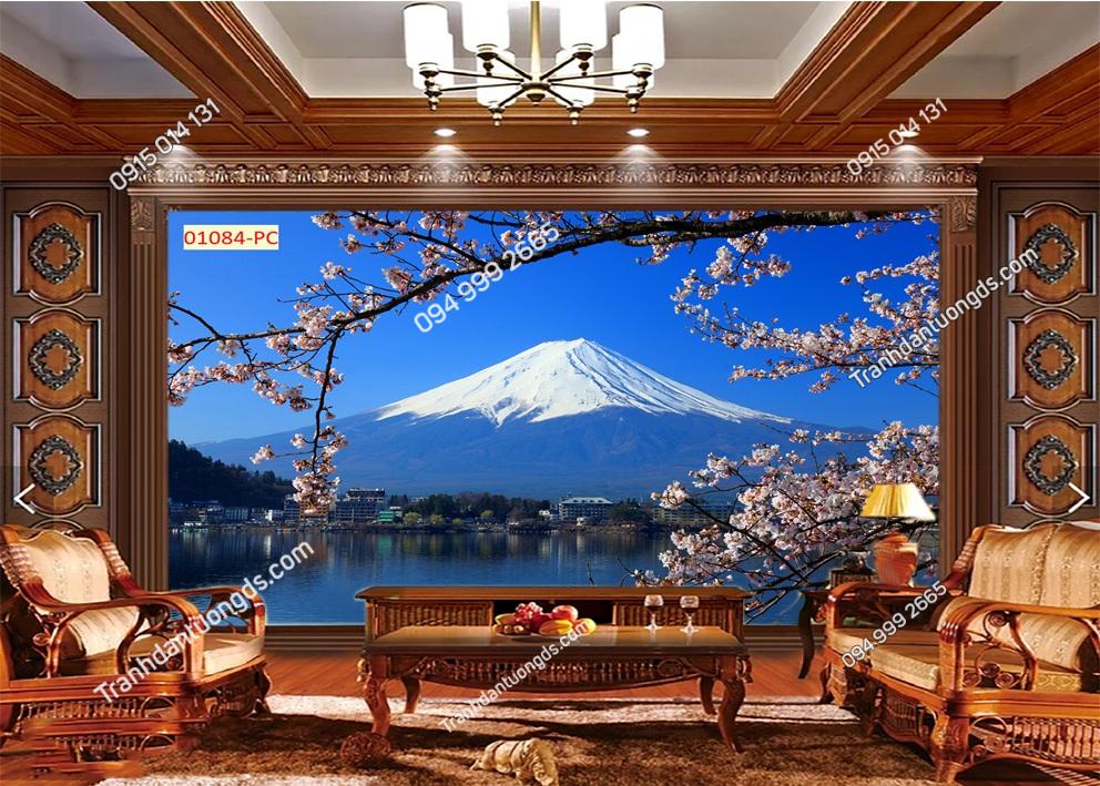 Tranh dán tường núi Phú Sĩ và hoa anh đào 01084