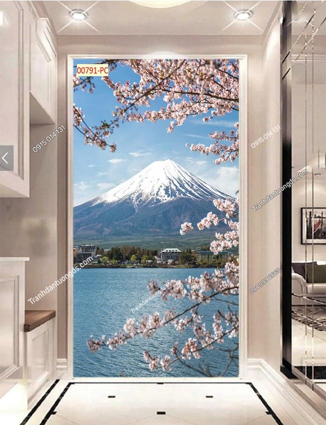 Tranh dán tường núi Phú Sĩ và hoa anh đào khổ dọc 00791