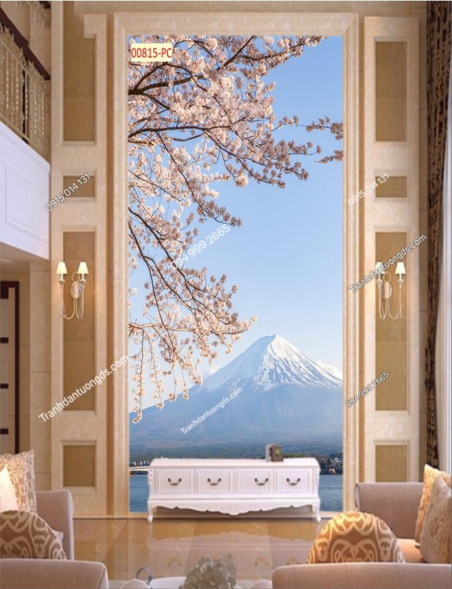 Tranh dán tường núi Phú Sĩ và hoa anh đào khổ dọc 00815