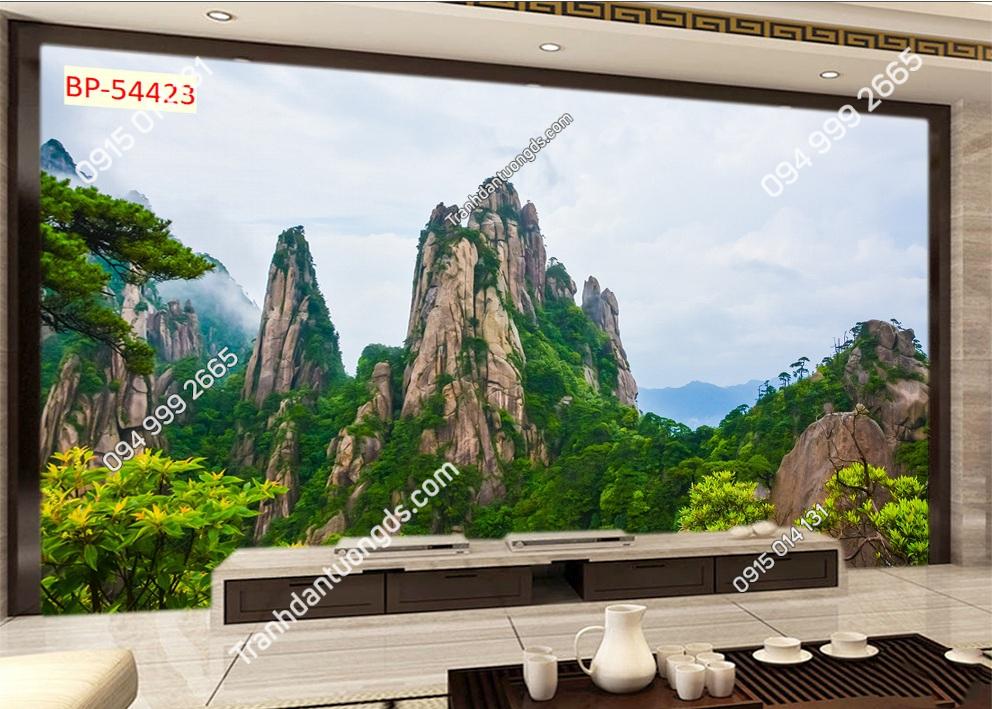 Tranh dán tường núi ngũ hành sơn trung quốc 54423