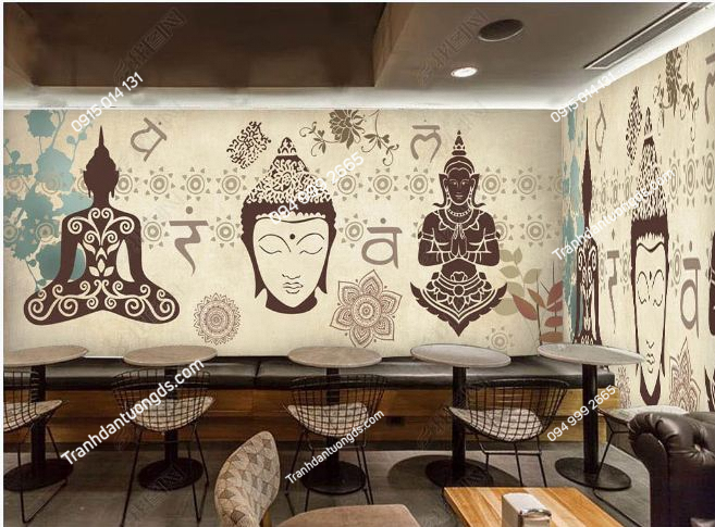 Tranh dán tường phật phong cách Thái Lan DS_15246808