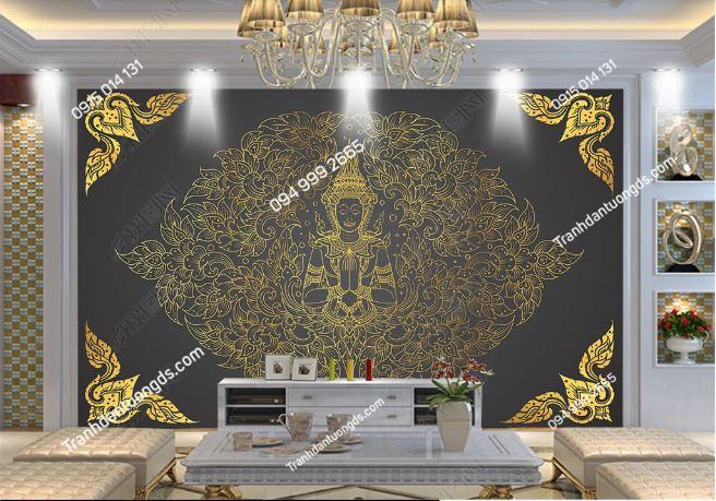 Tranh dán tường phật phong cách Thái Lan dán phòng khách DS_16650581