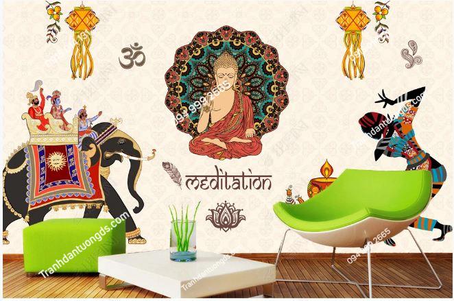 Tranh dán tường phật phong cách Thái Lan dán phòng khách DS_16906227