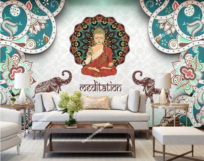 Tranh dán tường phật phong cách Thái Lan dán phòng khách DS_18378452