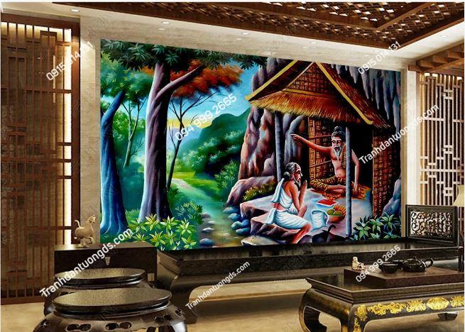 Tranh dán tường phong cách Thái Lan dán phòng khách DS_16734068