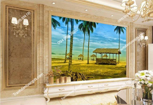 Tranh dán tường phong cách Thái Lan dán phòng khách DS_16737997