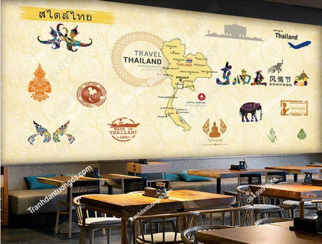 Tranh dán tường phong cách Thái Lan dán quán ăn DS_16728275
