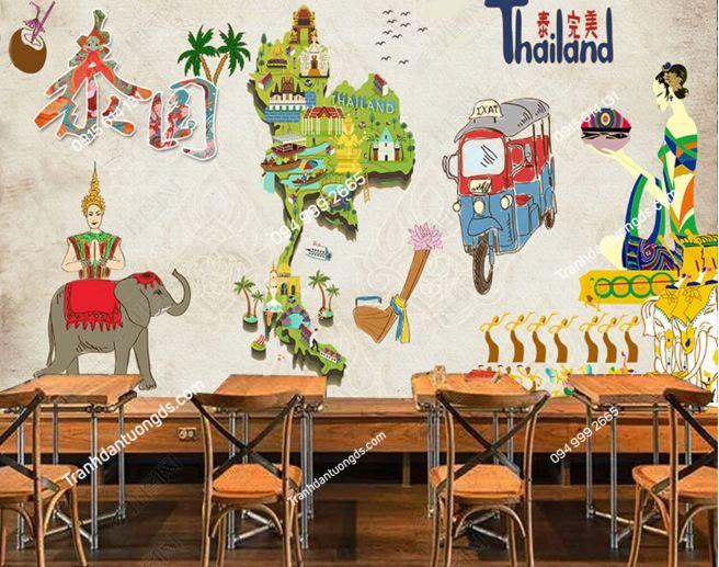 Tranh dán tường phong cách Thái Lan dán quán cafe DS_16750847