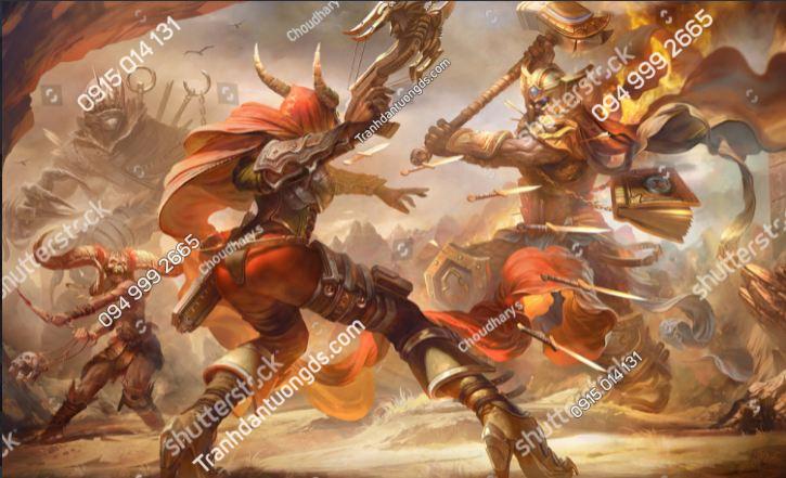 Tranh dán tường phòng game battle-warriors-gameing-fantasy-3d-illustration-1926863888