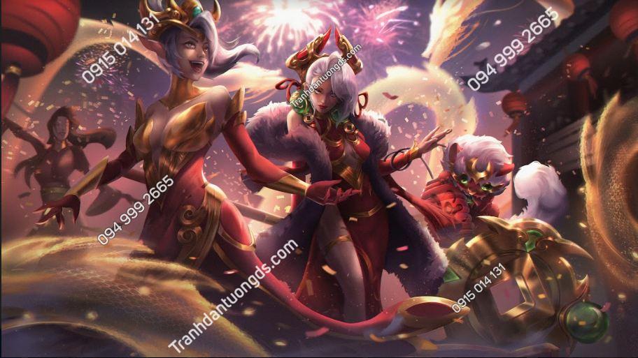Tranh dán tường phòng game luna-league-of-legends