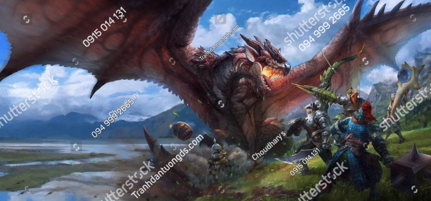 Tranh dán tường phong game monster-hunter-dragons-battles-warriors-wings-1953017164