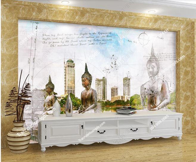 Tranh dán tường tượng phật phong cách Thái Lan dán phòng khách DS_18335889