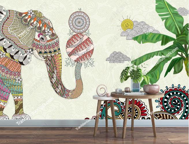 Tranh dán tường voi phong cách Thái Lan DS_16051923