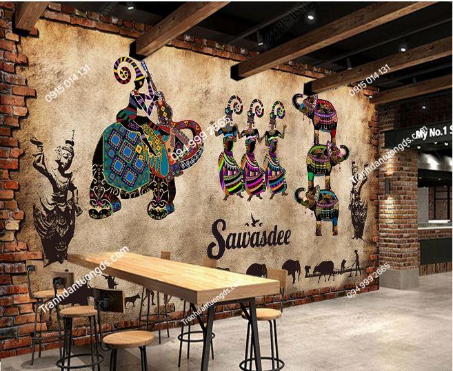 Tranh dán tường voi phong cách Thái Lan dán nhà hàng quán ăn DS_17756719