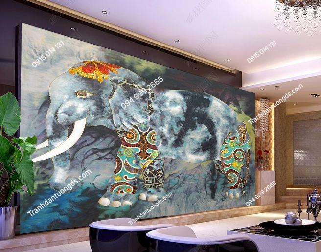 Tranh dán tường voi phong cách Thái Lan dán phòng khách DS_17232357