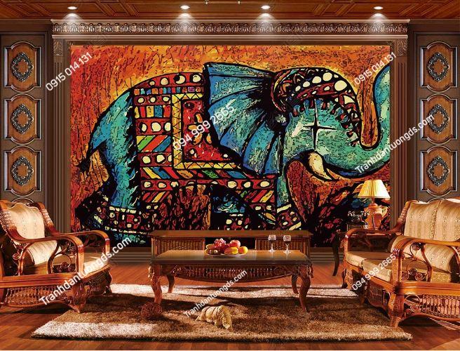 Tranh dán tường voi thổ cẩm phong cách Thái Lan DS_15284009