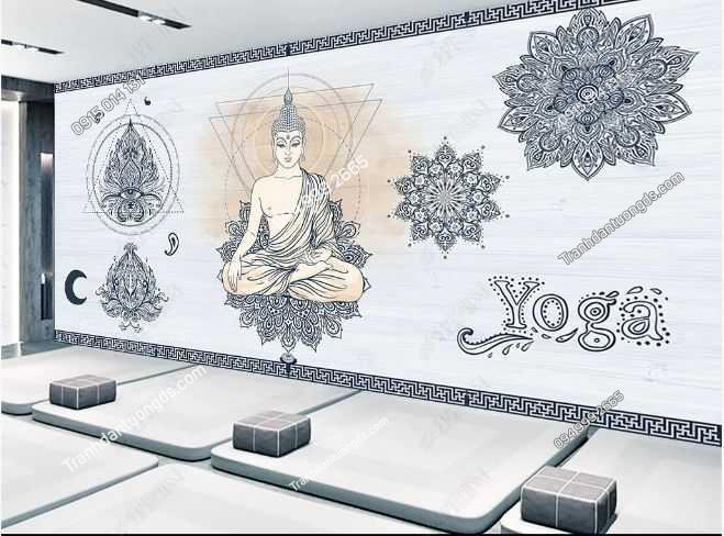 Tranh dán tường yoga phong cách Thái Lan DS_16018196