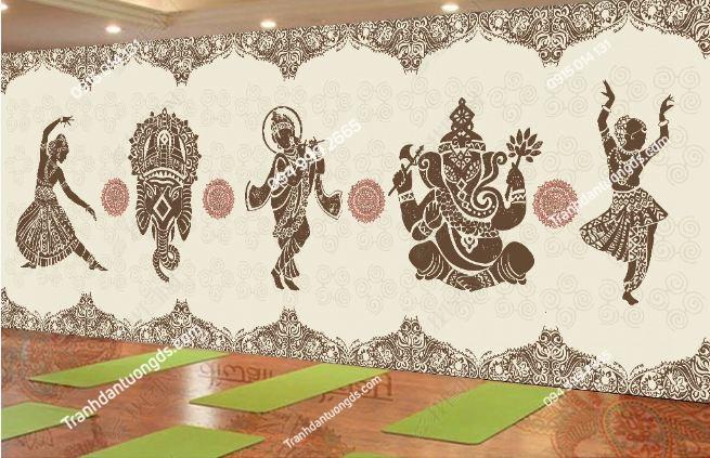 Tranh dán tường yoga spa phong cách Thái Lan DS_16373724