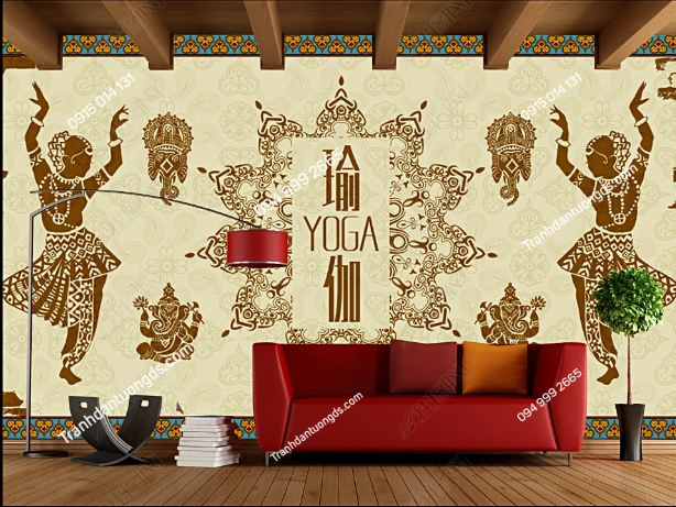 Tranh dán tường yoga spa phong cách Thái Lan DS_16504926