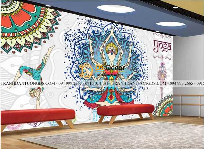 Tranh dán tường yoga spa phong cách Thái Lan DS_17438827