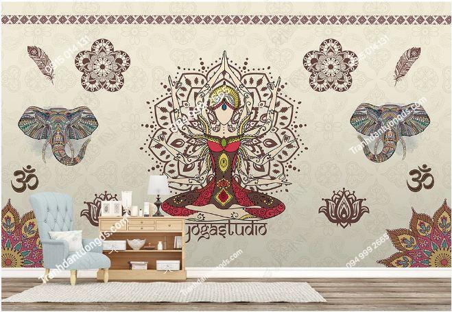 Tranh dán tường yoga spa phong cách Thái Lan DS_17772353