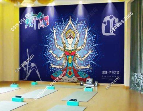 Tranh dán tường yoga spa phong cách Thái Lan DS_18452551