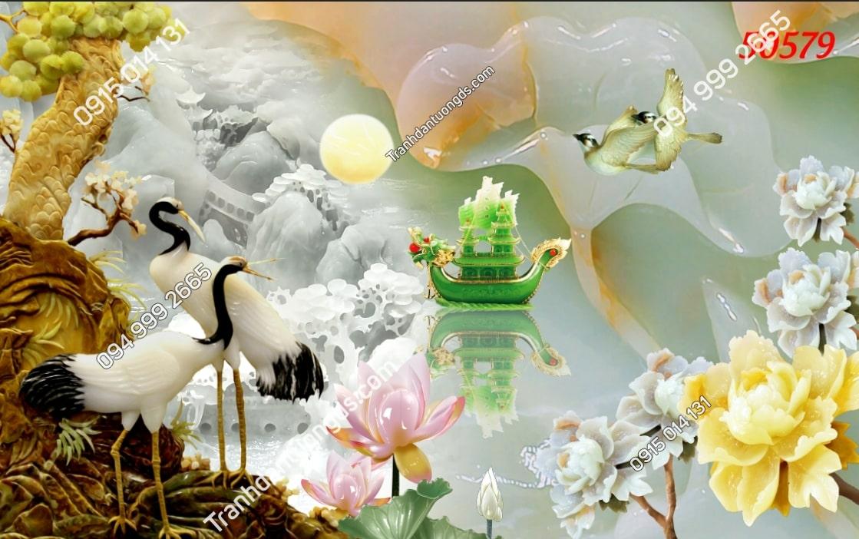 Tranh hạc giả ngọc hoa sen