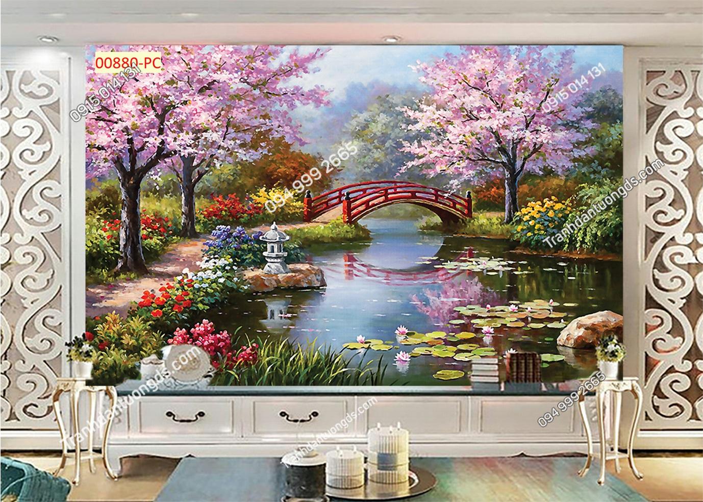 Tranh hoa anh đào Nhật bản 00880
