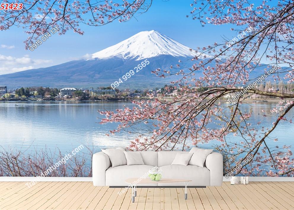Tranh hoa anh đào và núi Phú Sĩ Nhật bản 51423