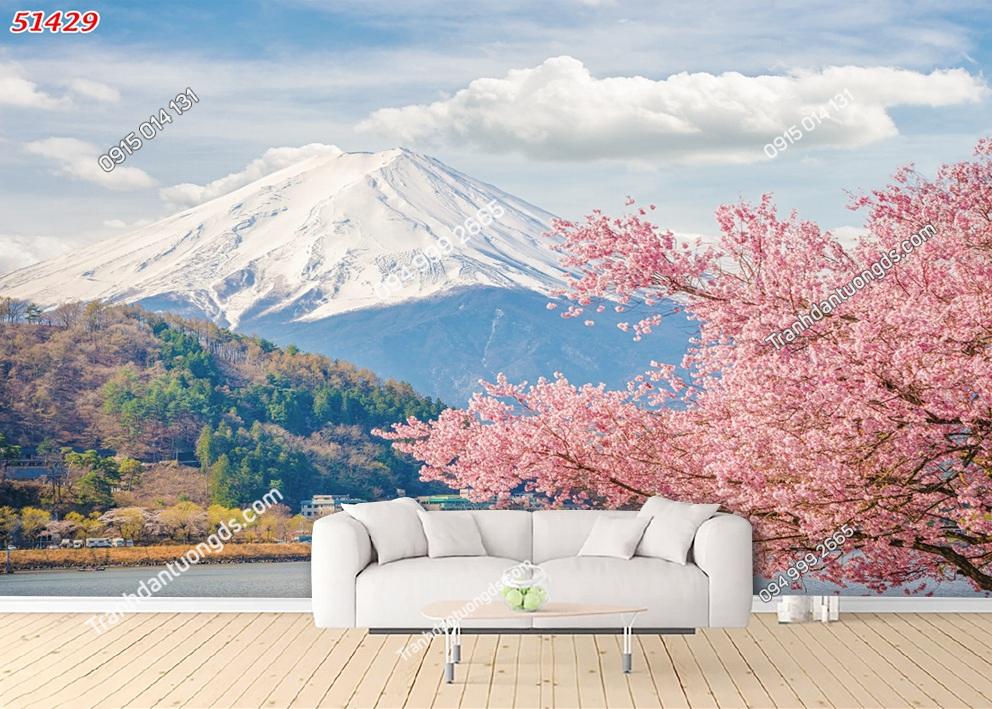 Tranh hoa anh đào và núi Phú Sĩ Nhật bản 51429