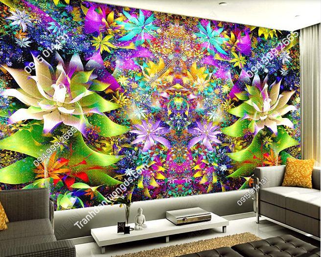Tranh hoa rực rỡ 3D cho quán bar karaoke DS_17503956