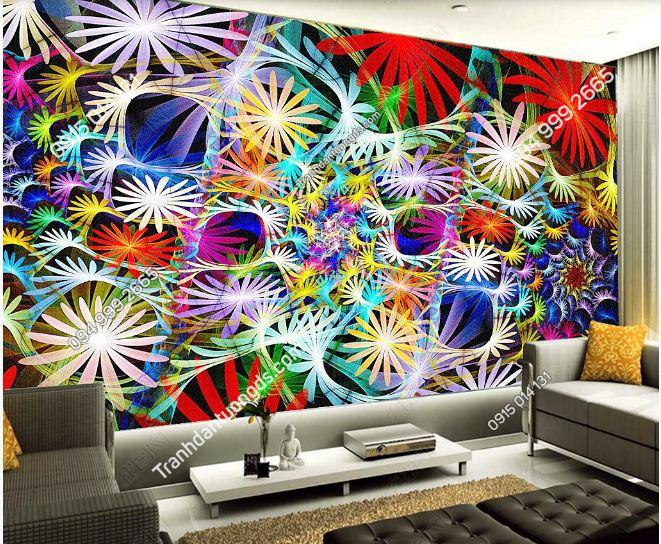 Tranh hoa rực rỡ 3D cho quán bar karaoke DS_17503983
