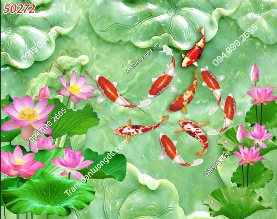 Tranh hoa sen cửu ngư giả ngọc