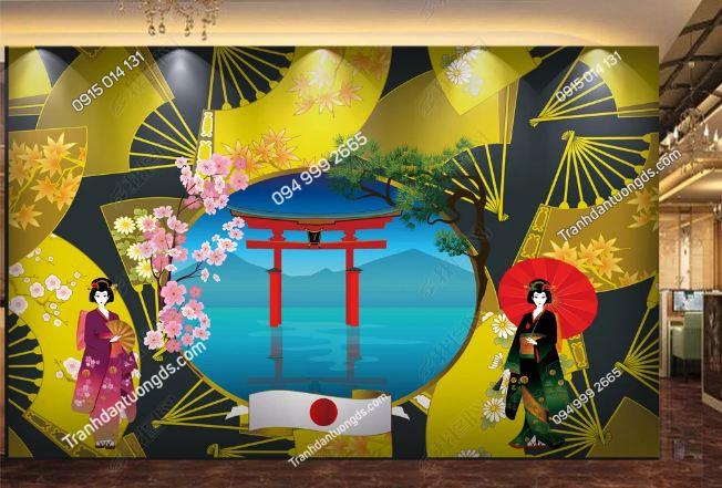 Tranh họa tiết Nhật Bản dán khách sạn DS_17182143