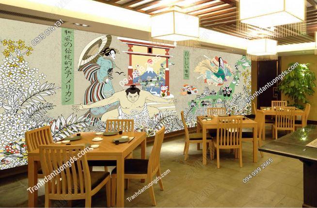 Tranh họa tiết Nhật Bản dán nhà hàng DS_15134076