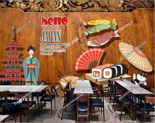 Tranh họa tiết Nhật Bản dán nhà hàng DS_17387503