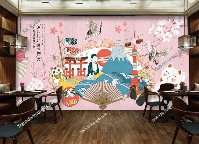 Tranh họa tiết Nhật Bản dán phòng ăn DS_18820552
