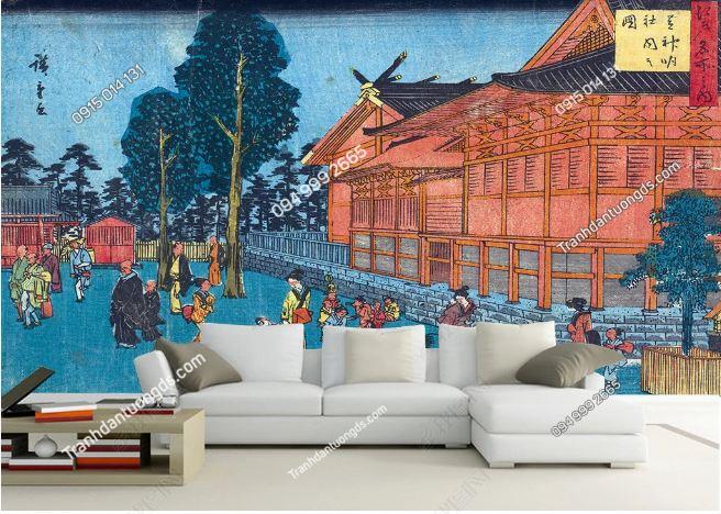Tranh họa tiết Nhật Bản dán phòng khách DS_16446464
