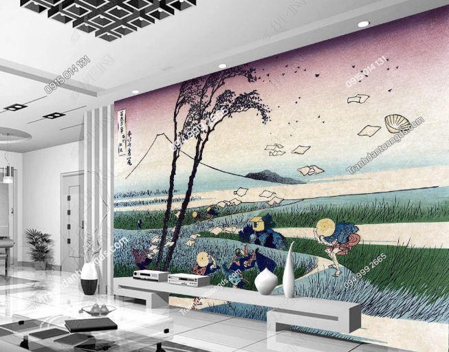 Tranh họa tiết Nhật Bản dán phòng khách DS_16446523