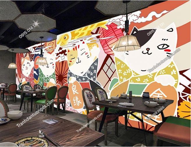 Tranh họa tiết Nhật Bản dán quán ăn DS_16539174