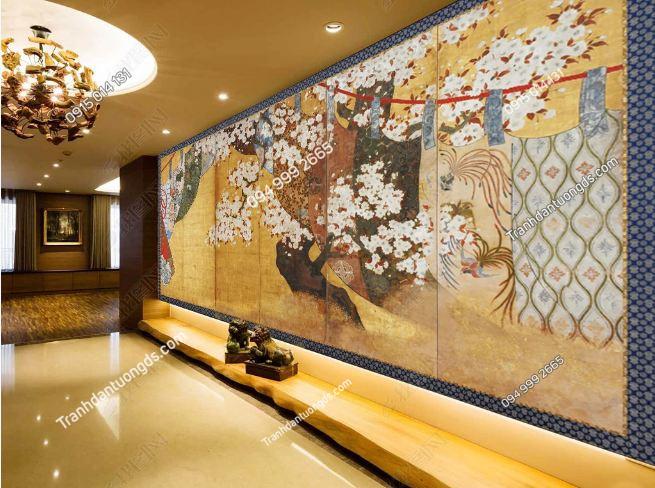 Tranh họa tiết Nhật Bản dán sảnh khách sạn DS_14996429