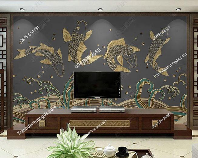 Tranh họa tiết cá chép Nhật Bản dán phòng khách DS_23479057