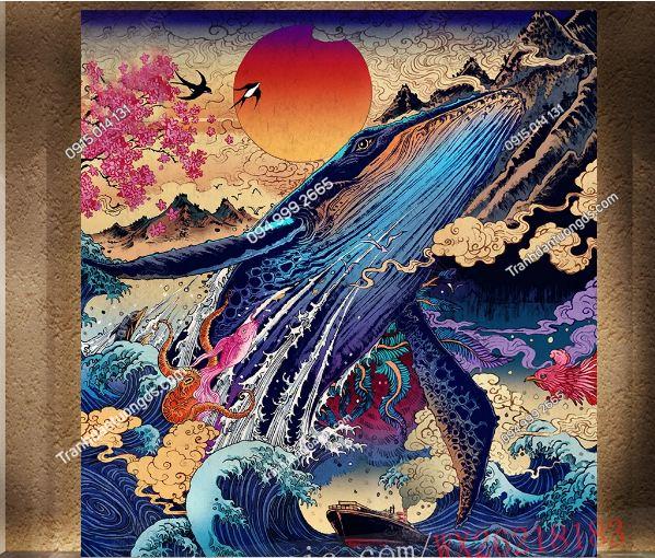 Tranh họa tiết cá voi Nhật Bản DS_16384054