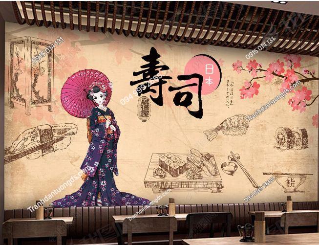 Tranh họa tiết cô gái Nhật Bản dán quán ăn DS_18680107