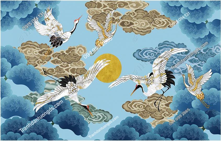 Tranh họa tiết hạc Nhật Bản DS_24201700