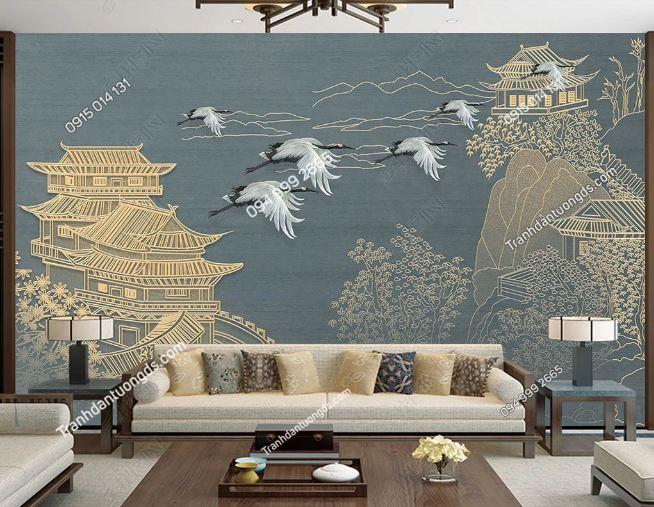 Tranh họa tiết hạc Nhật Bản dán phòng khách DS_23895736