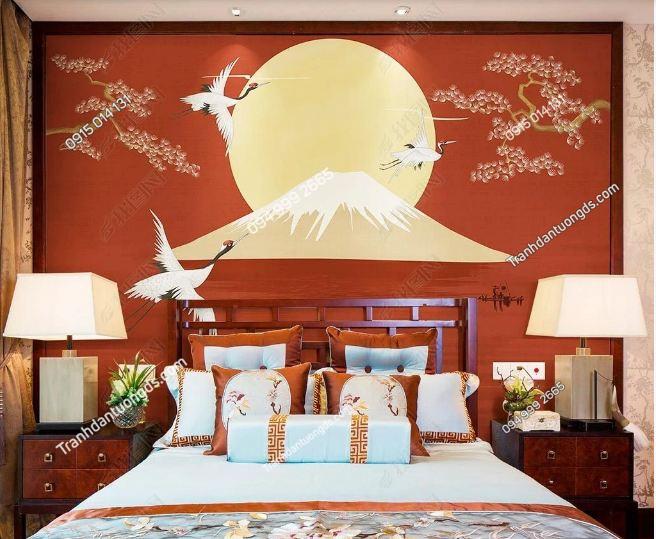 Tranh họa tiết hạc Nhật Bản dán phòng ngủ DS_23479108
